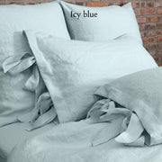Linen Pillowcases with Bow Ties Icy Blue - Linenshed
