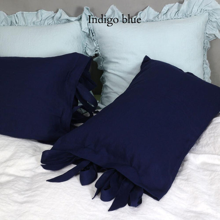 Linen Pillowcases with Bow Ties Indigo Blue - Linenshed