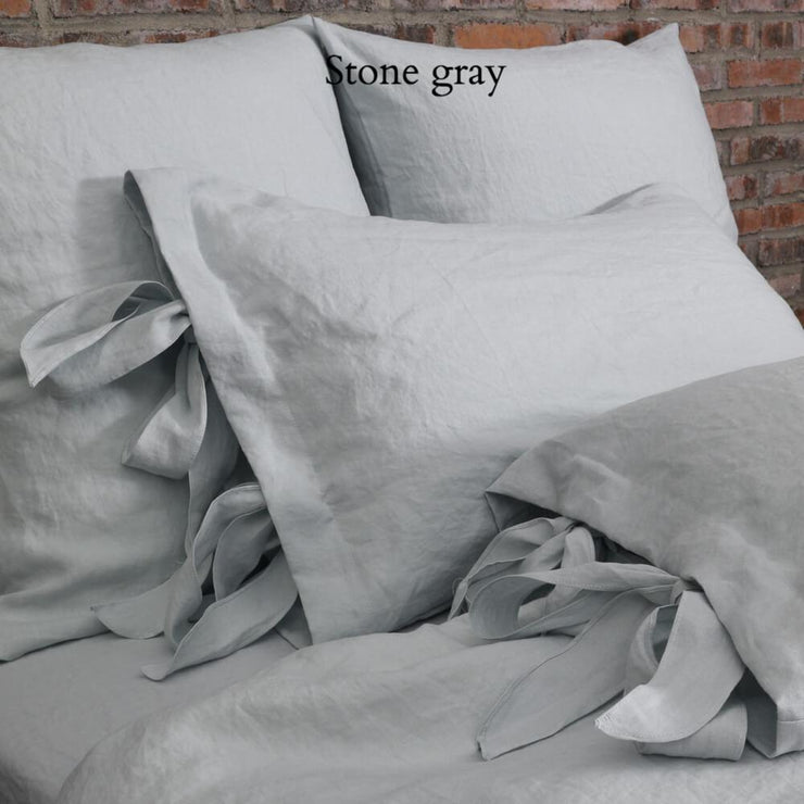 Linen Pillowcases with Bow Ties Stone Grey - Linenshed