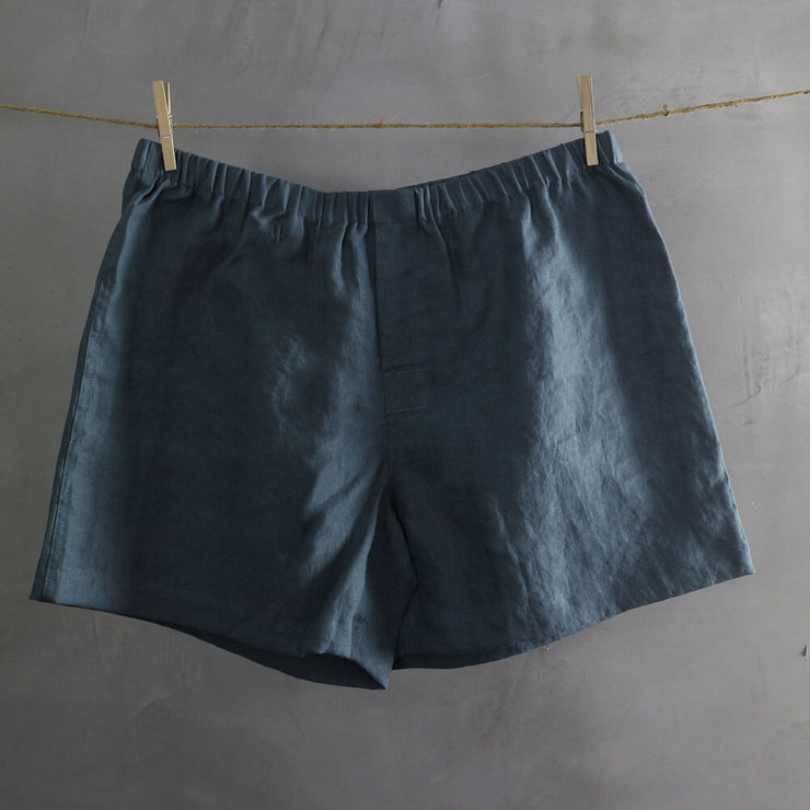 100% Linen Boxer shorts French Blue
