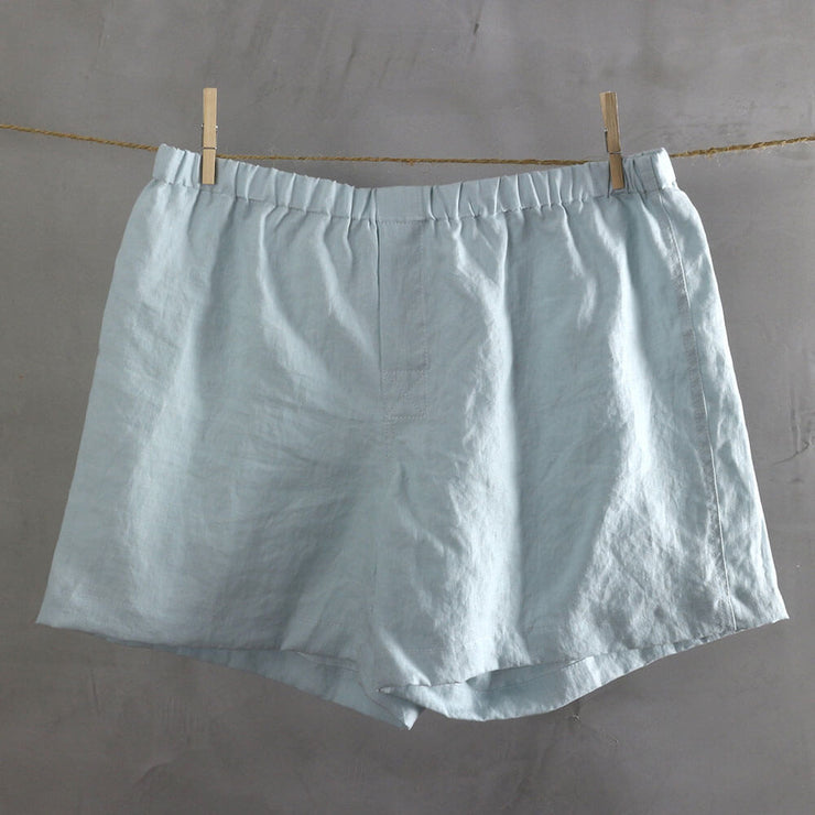 100% Linen Boxer shorts Icy Blue