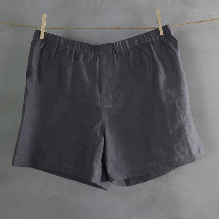 100% Linen Boxer shorts Lead Gray