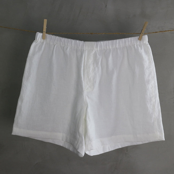 100% Linen Boxer shorts Optic White