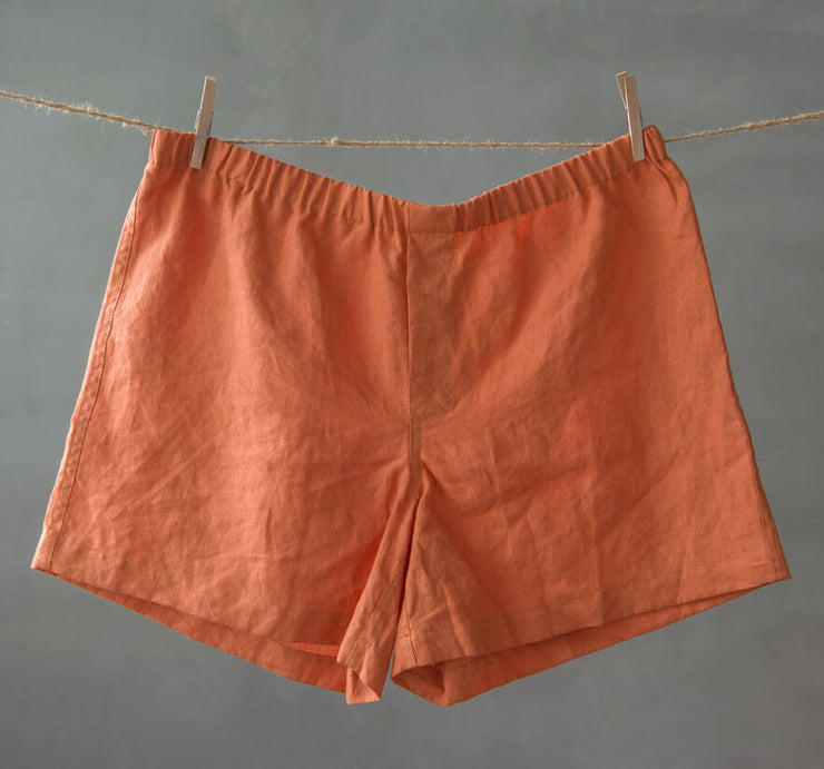 Men Linen Boxer short Coral