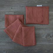 Linen plain Table Napkins With Pouch Brick