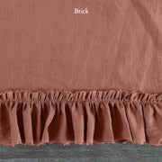 Duvet Cover with Frayed Ruffles Brick
