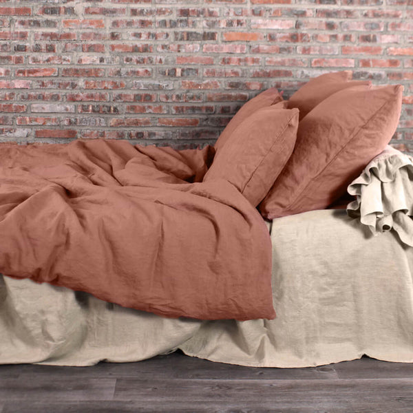 Pre-Washed Linen Duvet Cover Brick With Pillow Covers and Natural Linen Sheets
