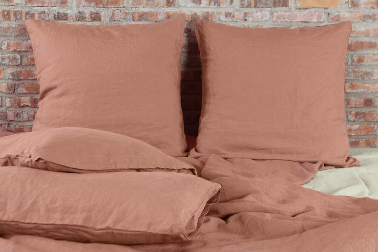 Flat Sheet Linen Sheets in Brick color