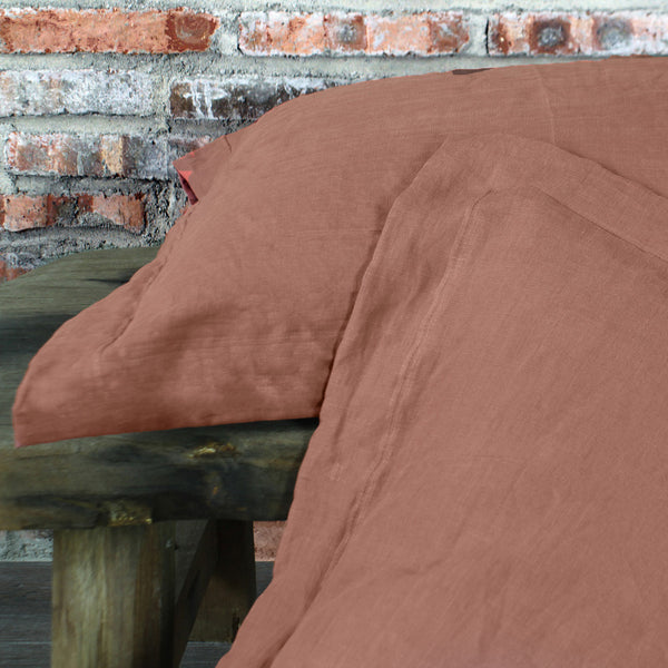 Flanged Linen Pillowcases Brick