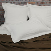 Flanged Linen Pillows Chalk