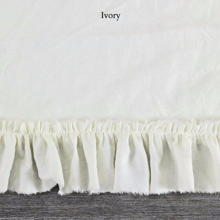 Duvet Cover with Frayed Ruffles Ivory