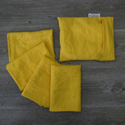 Linen plain Table Napkins With Pouch Curry