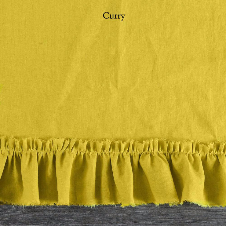 Duvet Cover with Frayed Ruffles Curry