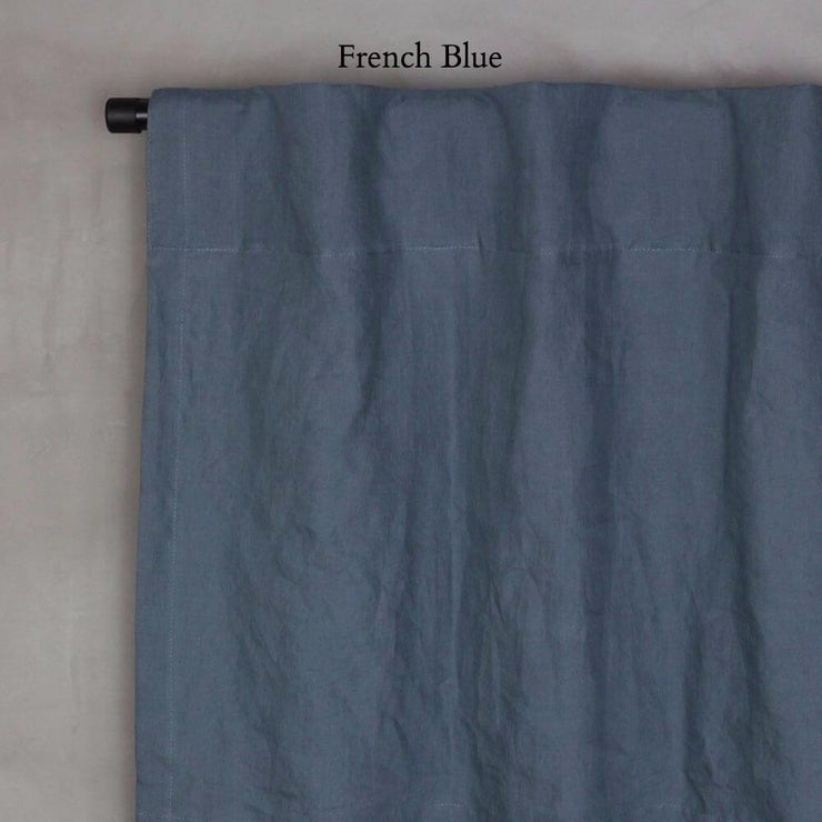 Pure Washed Linen Curtain with Cotton Lining French Blue
