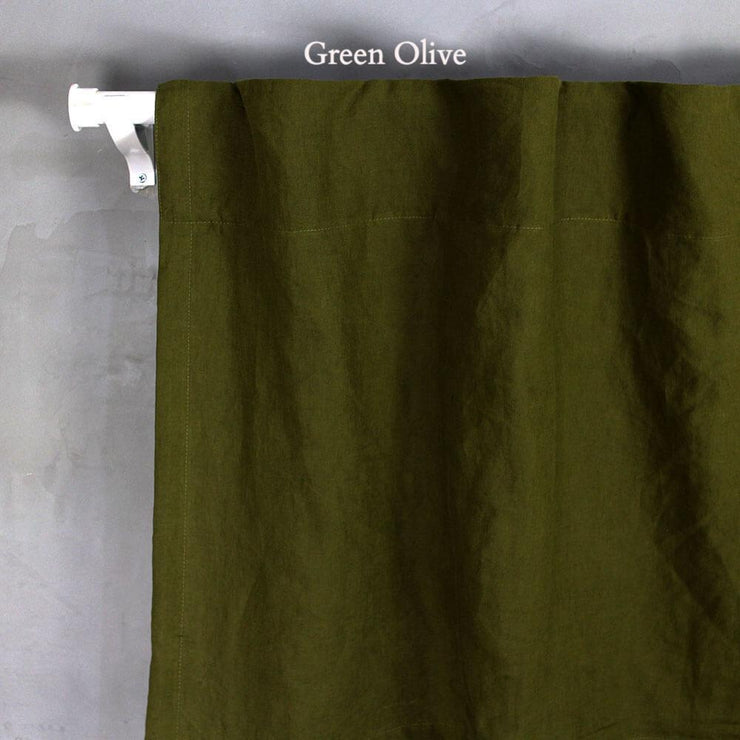Pure Washed Linen Curtain (no Lining) Green Olive
