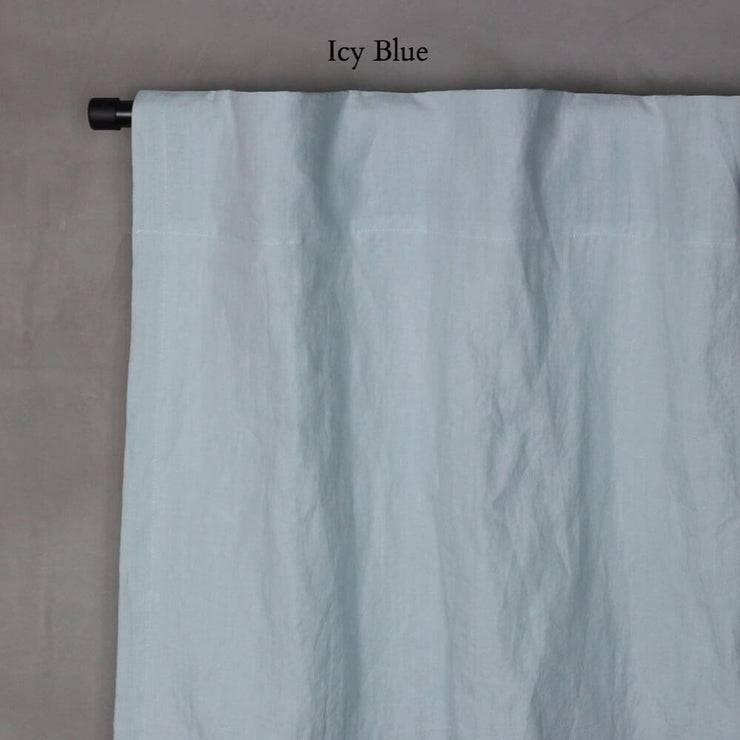Pure Washed Linen Curtain with Cotton Lining Icy Blue