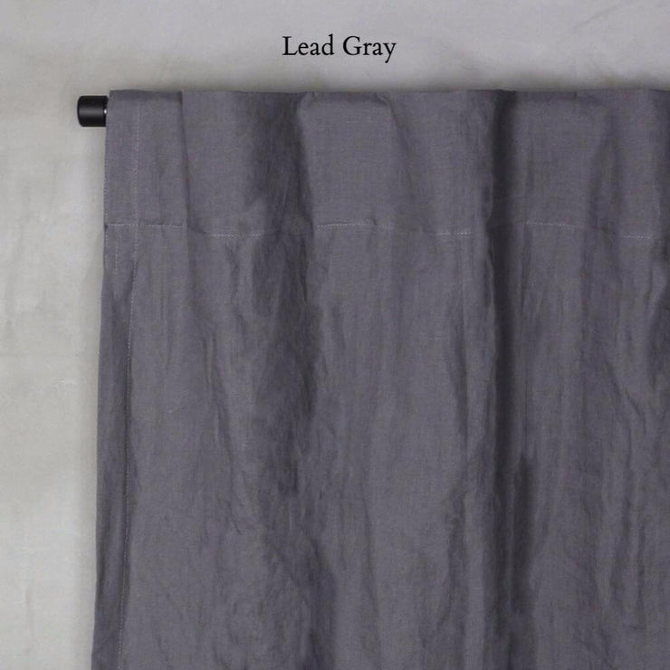 Pure Washed Linen Curtain with Cotton Lining Lead Grey