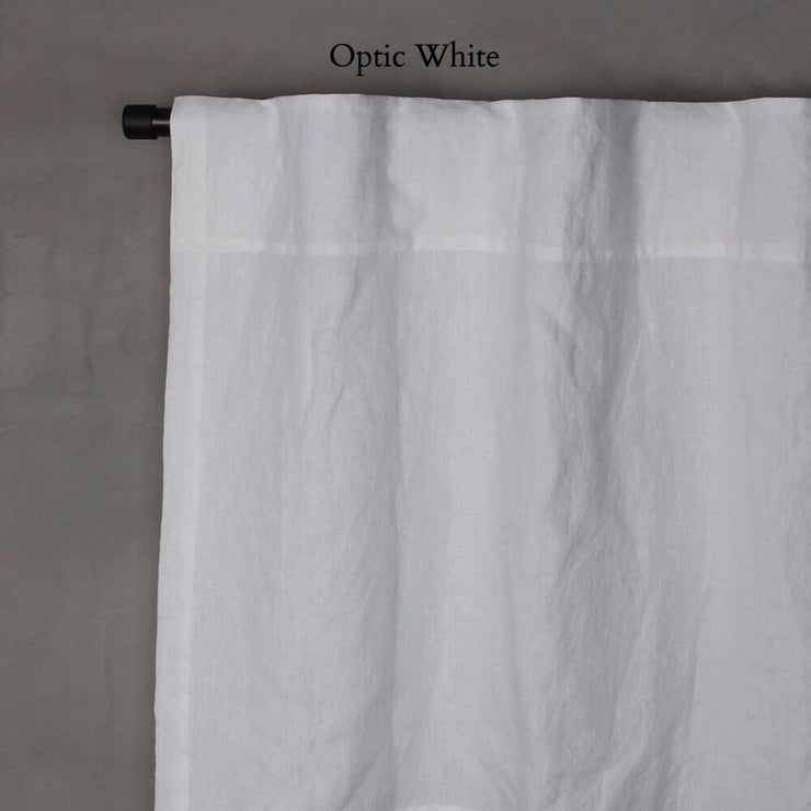 Pure Washed Linen Curtain with Cotton Lining Optic White