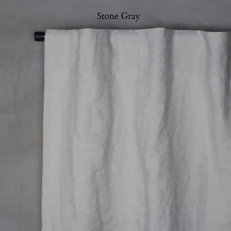 Pure Washed Linen Curtain with Cotton Lining Stone Grey