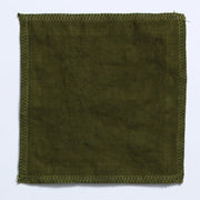 Flax Linen Fabric Green Olive Close Up