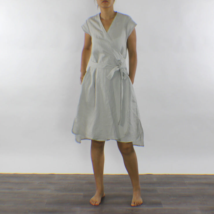 Linen Wrap Dress Portefeuille Stone Grey - Linenshed