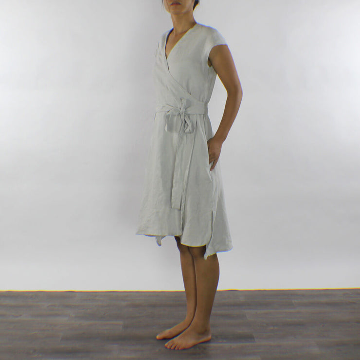 Knee-length Linen Wrap Dress Stone Grey - Linenshed