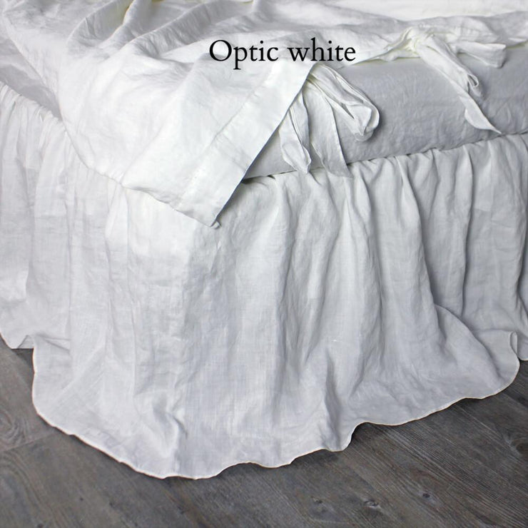 Ruffled Washed Linen Bed Skirt Gathered Dust Bed Sheets