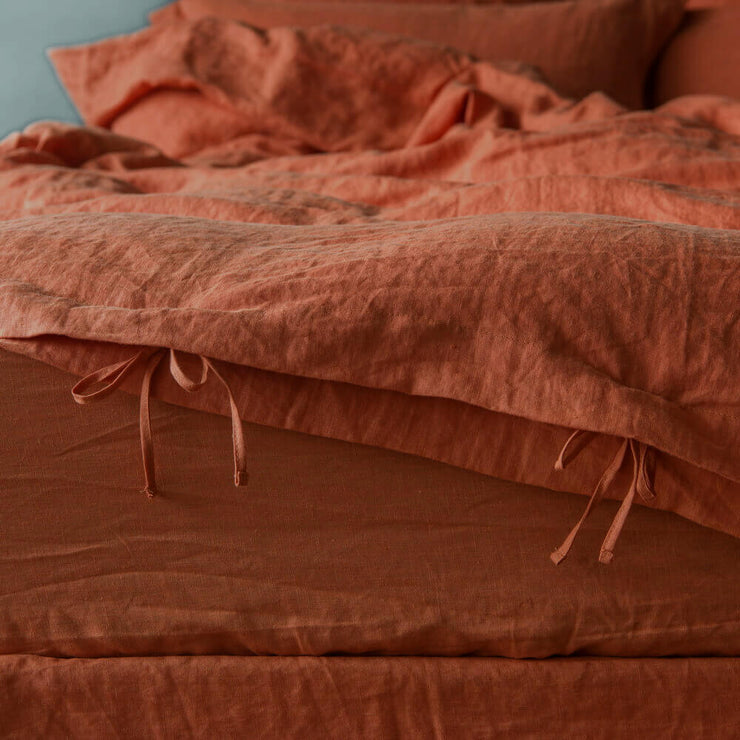 Closeup closure on Coral Linen Duvet Cover