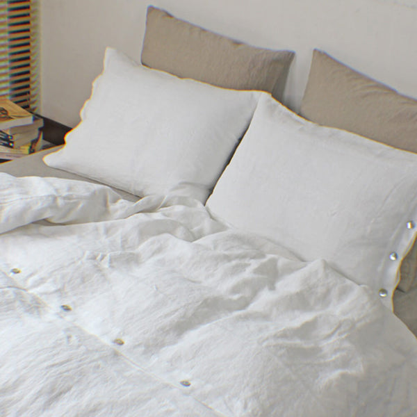 Soft Washed Linen Duvet Covers with Shell Button Closure + Buttoned Pillowcases White