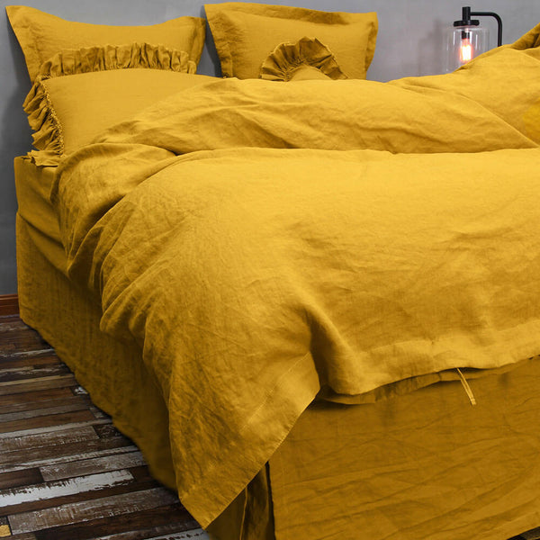 Washed Linen Bedding Set Curry 01