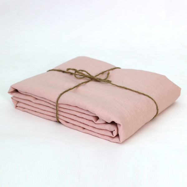 100% Linen Fabric by the meter in Salmon color