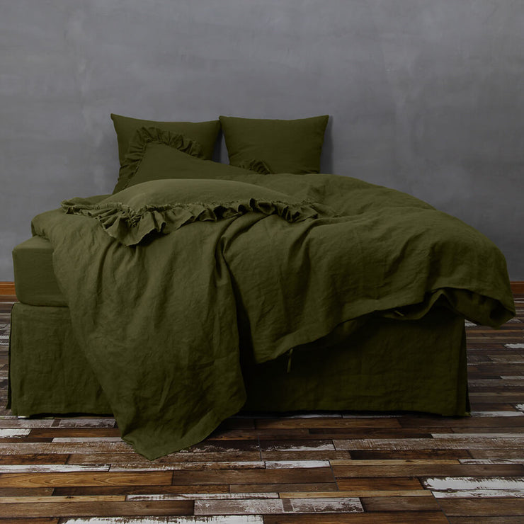 Linen Bedding Duvet Cover Set Green Olive