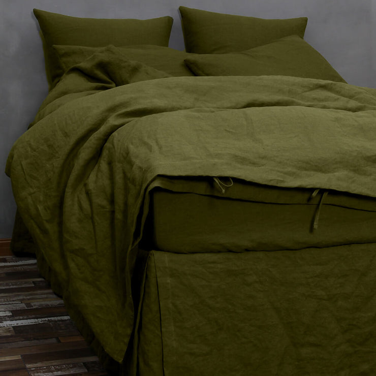 Linen Bedding Duvet Cover Green Olive with matching bedskirt