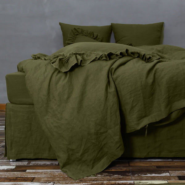 Customized Linen Duvet Cover Green Olive Linenshed