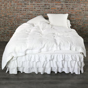 Optic White Duvet Cover with Waterfall Bedskirt