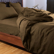 100% Linen Duvet Cover in Coffee - Linenshed