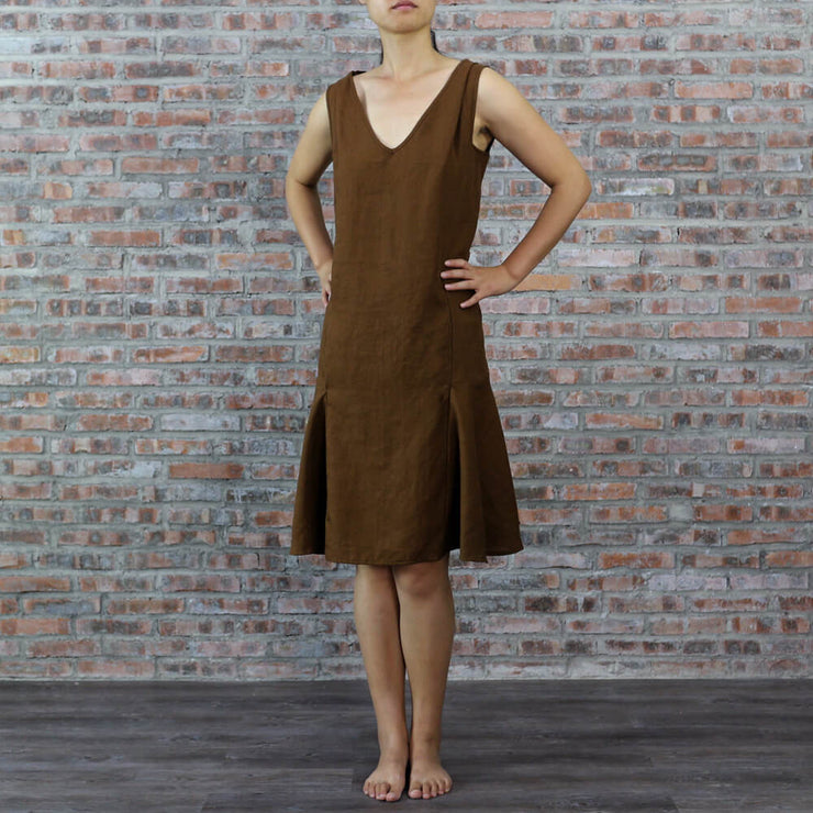 Pure Linen Low Waist Dress Earth