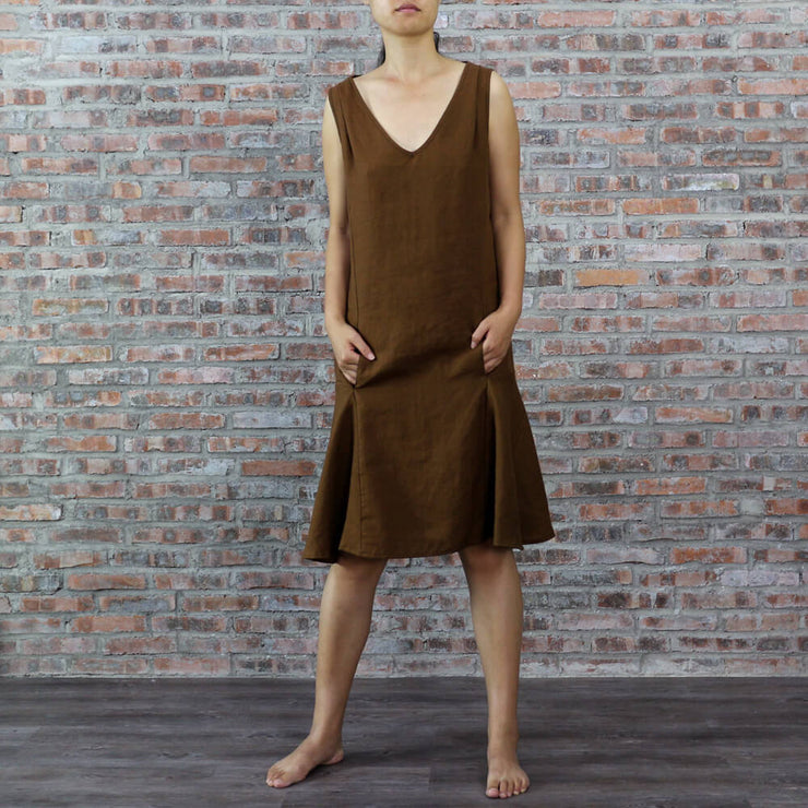 Sleeveless Shift Linen Dress
