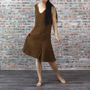 Drop-waist Linen Dress Earth