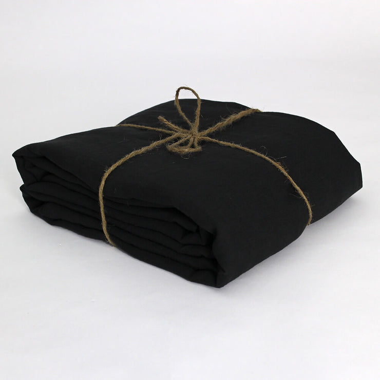 Pure Linen Fabric by the meter in Jet-Black