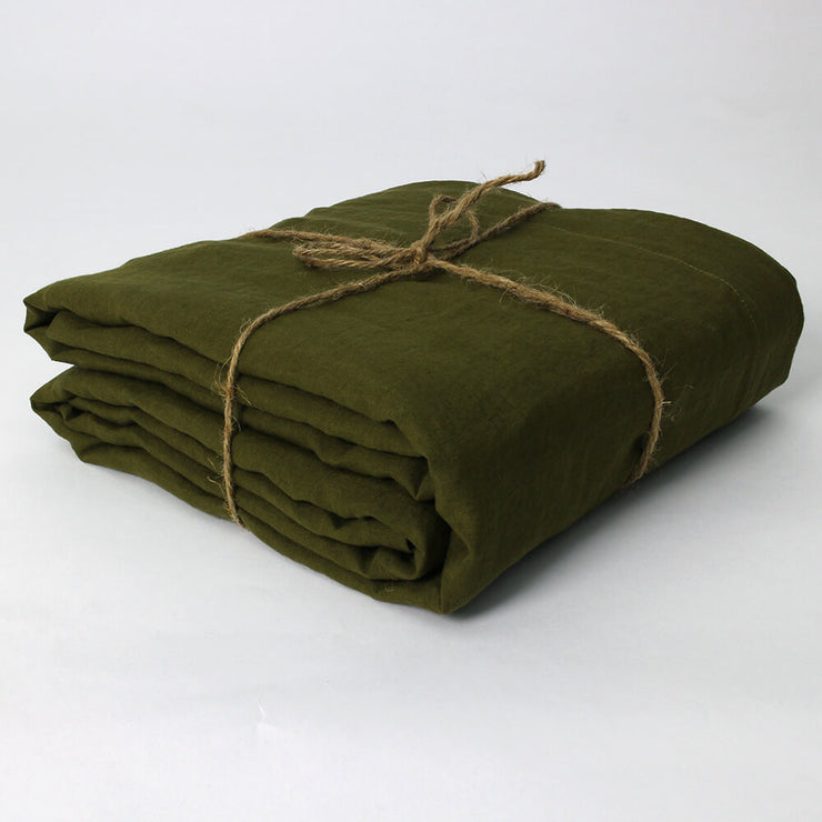 Green Olive Linen Duvet Cover Well Folded