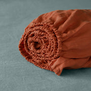 Vintage Linen Fitted Sheet Coral