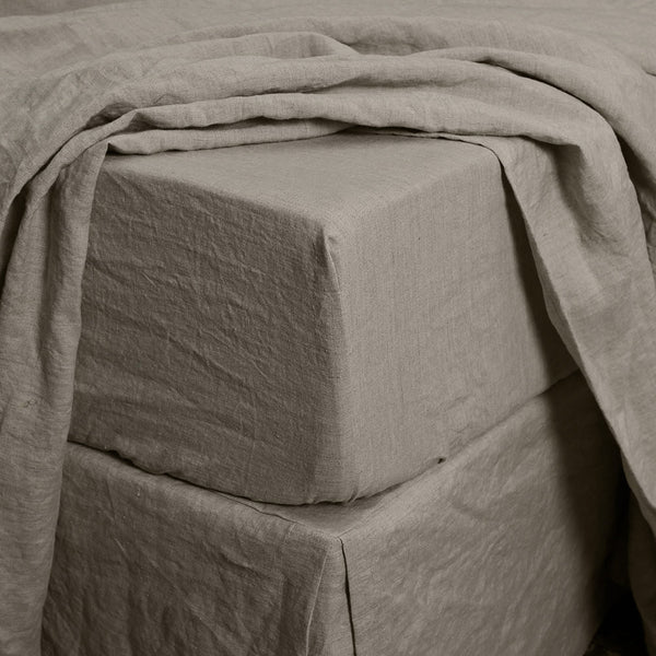 Natural Linen Deep Pocket  Fitted Sheet