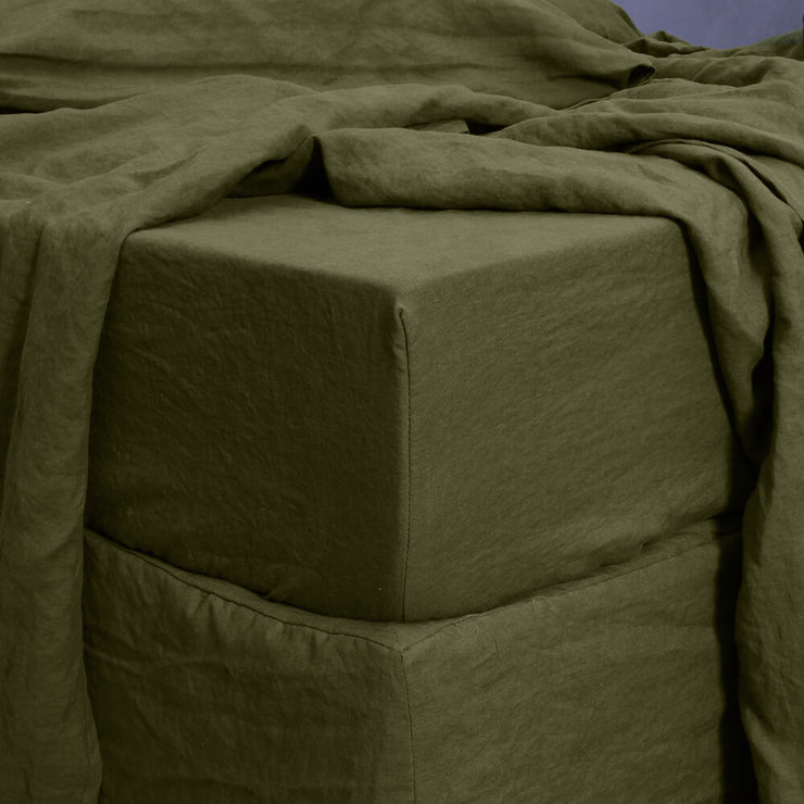 Washed Linen Fitted Sheet Green Olive