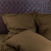 Flanged Linen Pillowcases Coffee - Linenshed