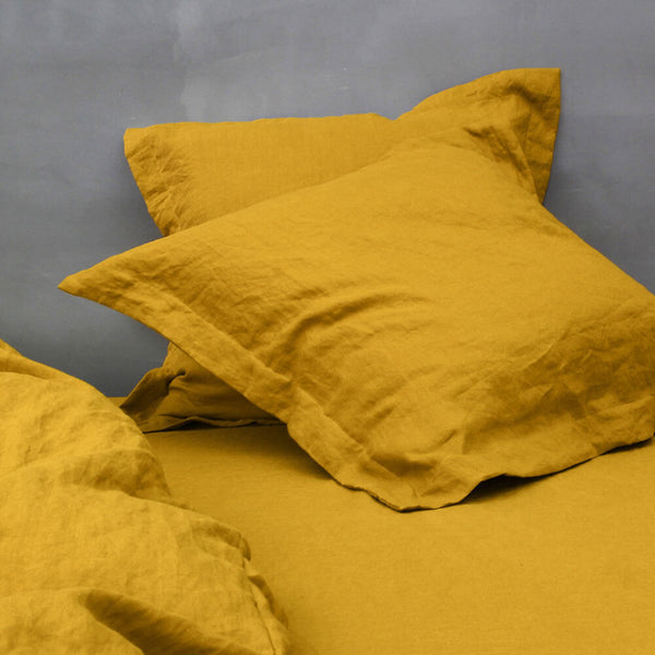 Flanged Linen Pillowcases Mustard