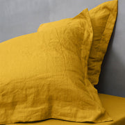 Close up Of The Mustard Linen Pillowcases