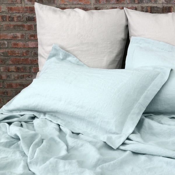 Linen Flanged Shams Pair Icy Blue with Stone Grey Euro Pillowcases
