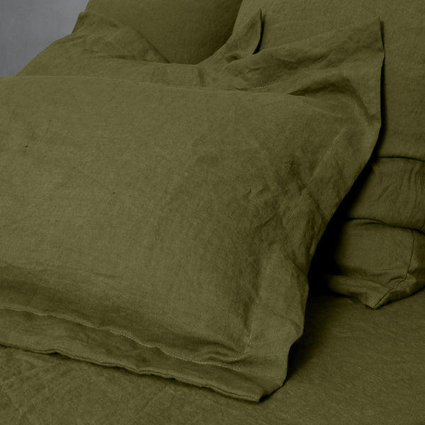 Flanged Linen Pillowcases pair Green Olive