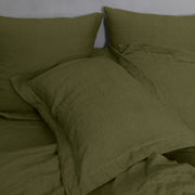 A Pair of Flange Linen Pillow Shams Green Olive